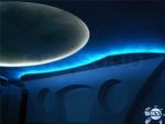 Фигуративен окачен таван от гипсокартон със скрито осветление и апликации