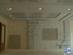Стена за телевизор с ниша, рафтове и апликация от гипсокартон