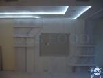 Стена за телевизор с ниша, рафтове и апликация